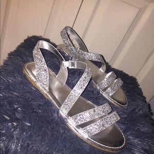 Shoes - Sliver Sparkle Slides